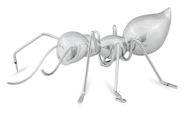 Mrówka Srebrna Figurka Dekoracja 21x16x7 Cm Strefalivingupl